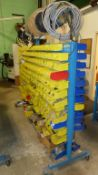 PLASTIC PARTS STACKING BINS COMPLETE WITH ROLLING RACK