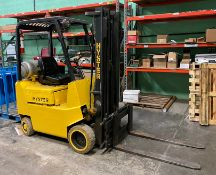 HYSTER PROPANE FORKLIFT, 3,500 LBS CAPACITY, MODEL S30XL, 3 STAGE MAST, SIDE SHIFT, HARD TIRES