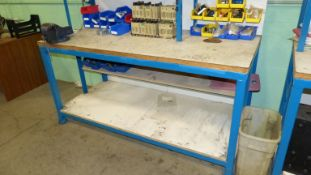 WOOD TOP SHOP BENCH (BLUE) W/VISE, UPPER SHELF AND RELATED CONTENTS