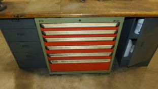 GREEN METAL CABINET 6 DRAWER, WITH CONTENTS