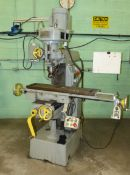 PRINCE VERTICAL TURRET MILL, 9'' X 40'', T-SLOTTED TABLE, POWER FEED TO TABLE, 5'' POWER QUILL
