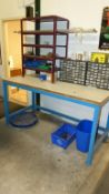 WOOD TOP SHOP BENCH (BLUE) W/BROWN SHELF AND RELATED CONTENTS (2) SCREW STORAGE CABINETS