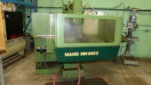 MAHO CNC UNIVERSAL MILLING MACHINE, MODEL MH600E, 16'' X 38'', T-SLOTTED TABLE