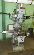 TOP WELL VERTICAL TURRET MILL, 10'' X 50'', T-SLOTTED TABLE, POWER FEED TO TABLE, 5'' POWER QUILL