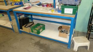 WOOD TOP SHOP BENCH (BLUE) W/UPPER SHELF AND RELATED CONTENTS