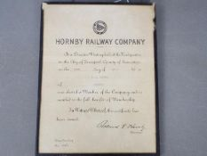 Hornby - A framed Hornby Railway Company Membership Certificate dated 9th April 1938, Membership no.