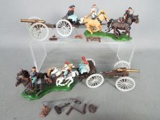 Britains - two confederate gun teams with ammunition and gun ramrods by Britains