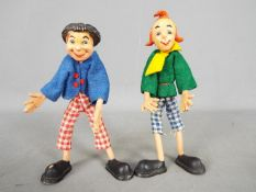 Schleich - A pair of unboxed Max and Moritz Bendy Rubber Dolls by Schleich circa 1930 .