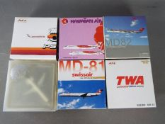 Dragon Wings, Jet-X, Phoenix Models - Six diecast 1:400 scale diecast model aircraft.