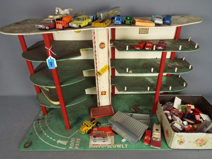 Lego, Dinky Toys, Husky, Corgi - A vintage unboxed and unmarked three storey toy car park / garage, - Image 2 of 4
