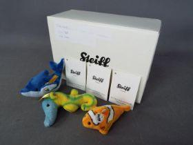 Steiff - Three Steiff Mini Animals comprising # 112225 'Clippy Dolphin',
