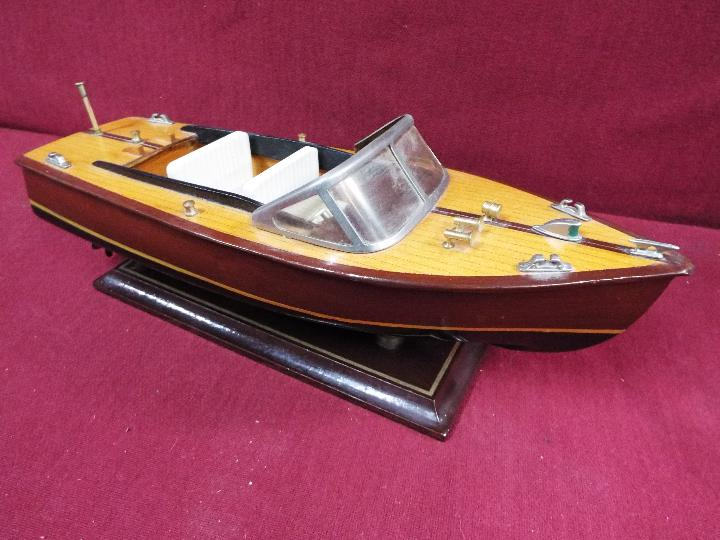 Two static wooden display models of Riva type luxury yachts. - Image 4 of 5