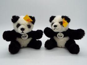 Steiff - Two Steiff Mini Bears comprising 2 x # 112102 Panda, yellow tags,