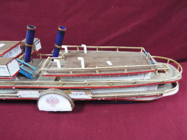 A wooden model of a Russian Paddle Steamer 'St.Petersburg'. - Image 3 of 5