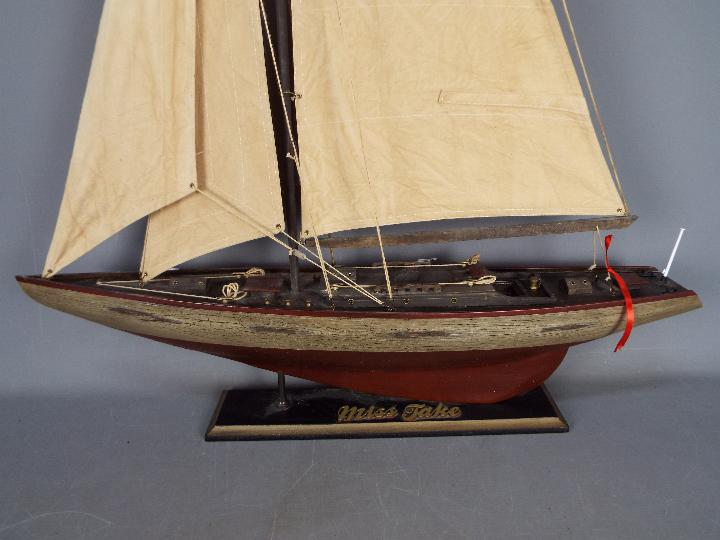 A large static model of a sea going yacht 'Miss Take'. - Image 2 of 5