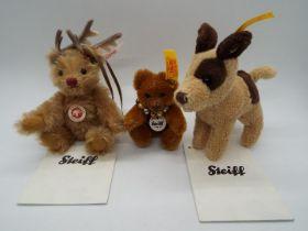 Steiff - Three Steiff Mini Bears comprising # 036798 'Deer Bear' white tag,