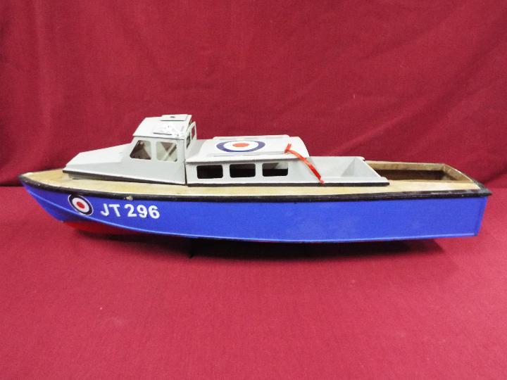 A wooden model of an RAF Launch 'JT296'.