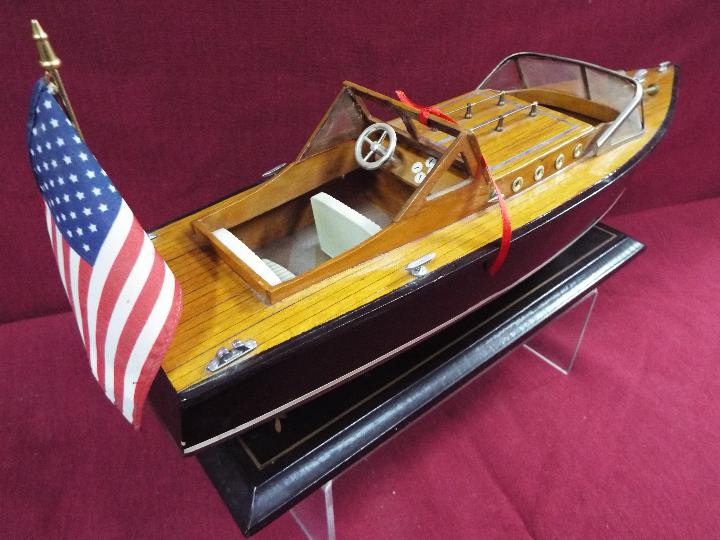 Two static wooden display models of Riva type luxury yachts. - Image 3 of 5