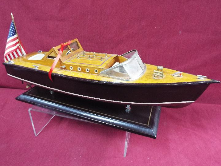 Two static wooden display models of Riva type luxury yachts. - Image 2 of 5