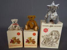 Hermann Bears - three boxed miniature Hermann Bears one dressed as a fairy holding a silver wand