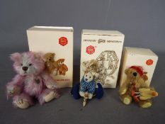 Hermann Bears - three boxed miniature Hermann Bears comprising a dressed blue wizard holding a moon