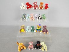 Hermann Bears - twenty miniature Hermann bears in various colours to include one formed as a brooch,