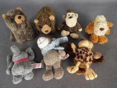 Nici and Gund - five small animals by Nicci comprising an elephant, an owl, a bear,