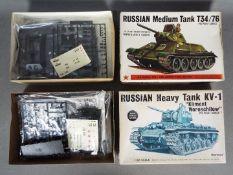 Bandai - 2 unmade 1:48 scale boxed Russian tank model kits,