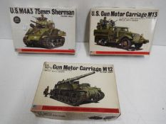 Three Bandai WWII U.S. Armoured Division / Pin Point series model kits. 1:48 Scale. # 8289 No.