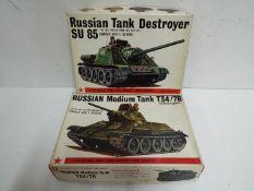 Bandai - 2 boxed unmade Bandai 1:48 scale Russian tank model kits including # 8372 SU85 tank