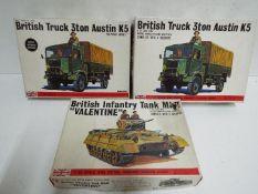 Bandai - 3 boxed unmade Bandai 1/48 scale British military model kits including #8361 Austin K5 3