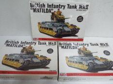 Bandai - 3 x unopened Bandai 1:48 scale British Infantry MkII 'Matilda' tank models,