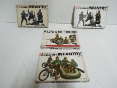 """Four Bandai Pin Point series model kits. 1:48 Scale. # 8290 No.3 """"U.S ARMY INFANTRY""""."""