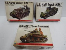 Three Bandai WWII U.S. Armoured Division / Pin Point series model kits. 1:48 Scale. # 8290 No.
