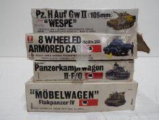 Four Bandai WWII German Panzertruppe / Pin Point series model kits. 1:48 Scale.