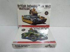 Bandai - 2 unopened 1/48 scale Bandai British military models including #8362 Daimler MkI armoured