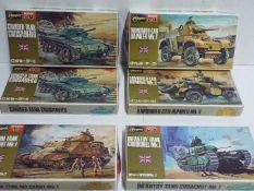 Hasegawa - 6 boxed unopened 1:72 scale British military model kits including # 5 M3 Grant medium
