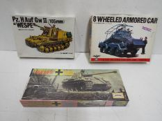 Three model kits to include, two Bandai WWII German Panzertruppe series. 1:48 Scale.