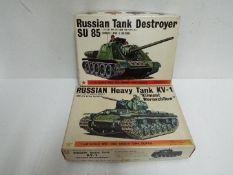 Bandai - 2 boxed unmade 1:48 scale Bandai Russian tank model kits including # 8371 KV-1 heavy tank