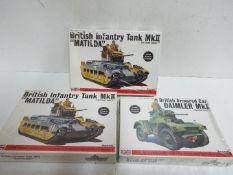 Bandai - 3 unopened Bandai 1/48 scale British military model kits including # 8363 MkII Infantry