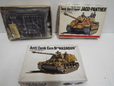 Two Bandai - WWII German Panzertruppe series model kits. 1:48 Scale. Both unmade.