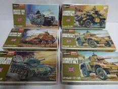Hasegawa - 6 boxed unmade 1:72 scale British military model kits including # 5 Grant M3 medium tank,