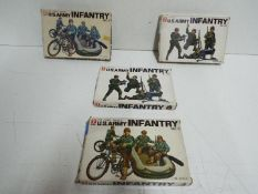 """Four Bandai Pin Point series model kits. 1:48 Scale. Two x # 8290 No.3 """"U.S ARMY INFANTRY""""."""