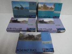 Fujimi - Collection of 5 unmade boxed 1:76 scale military model kits including # 33 German 105 mm