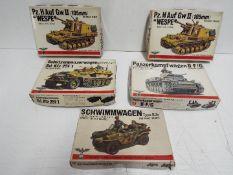 Five Bandai WWII German Panzertruppe / Pin Point series model kits. 1:48 Scale.