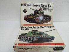 Bandai - 2 boxed unmade Bandai 1:48 scale Russian tank model kits including # 8371 KV-1 heavy tank