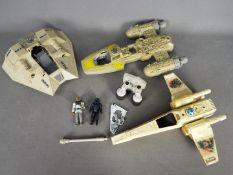 Star Wars, Kenner, LFL - Four unboxed vintage Star Wars vehicles with unboxed vintage figures.