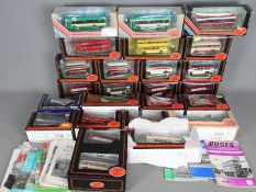 EFE - A collection of 24 boxed 1:76 scale EFE bus models contained in a vintage trunk,