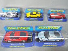 Scalextric - 5 x Ferrari F430 models in various colours. # C3067, # C2822, # C2873.