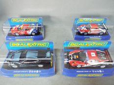 Scalextric - 3 x Ferrari F430 and 1 x Jaguar XKR GT3 slot cars. # C2938, # C3085, # C3131.